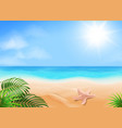 blue sky ocean and tropical beach golden sands vector image