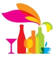 bottles colored icon drinks vector image