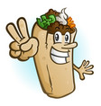 burrito cartoon character holding up a peace sign vector image vector image