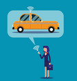 businesswoman calling taxi with his mobile phone vector image vector image