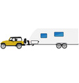 Car with trailer vector image vector image
