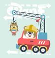 cartoon cute animals on crane truck vector image vector image
