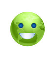 cartoon earth face green smile icon funny planet vector image vector image