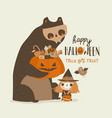 cartoon girl and bear trick or treating in vector image