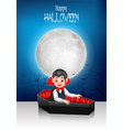cartoon happy vampire in his coffin with halloween vector image vector image
