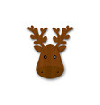cartoon wooden deer head with horns isolated on vector image vector image