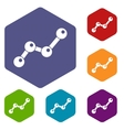 Chart statistics line icons set vector image vector image