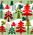 christmas vintage folk pine tree seamless pattern vector image vector image
