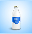 Closed Bottle Of Milk vector image vector image