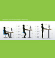 correct postures for height adjustable and vector image vector image