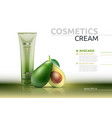cream cosmetic realistic mock up package avocado vector image vector image