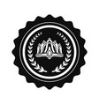 crown and laurel branches on black round stamp vector image