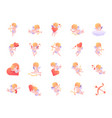 cupid color icon set vector image
