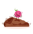 cute cake cartoon character isolated on white vector image