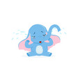 cute upset baby elephant sitting and crying funny vector image vector image