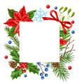 decorative frame with winter plants vector image vector image