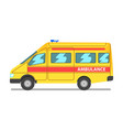 emergency car yellow and red ambulance medical vector image vector image