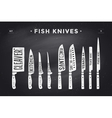 FIsh cutting knives set Poster Butcher diagram vector image vector image