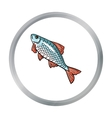 Fish icon in cartoon style isolated on white vector image