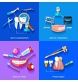 Flat 2x2 Dentist Icons Set vector image