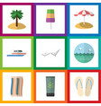 flat icon beach set of sundae coconut ocean and vector image vector image