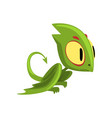 funny green dragon with big eyes head and long vector image