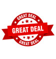 great deal ribbon great deal round red sign great vector image vector image