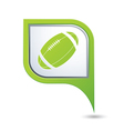 Green map pointer with american football icon vector image