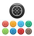 gun target icons set color vector image