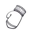 hand drawn doodle christmas winter mitten vector image vector image
