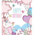 happy birthday with unicorn animal decoration vector image
