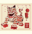 happy chinese new year lion dance lanterns and vector image