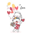 happy teddy bear holding balloon heart and gift vector image