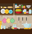 kitchen flat vector image vector image
