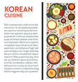 korean cuisine banner template with traditional vector image vector image