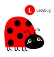 letter l ladybug ladybird zoo animal alphabet vector image vector image