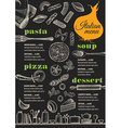 Menu italian restaurant food template placemat vector image vector image