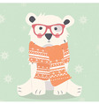 Merry Christmas postcard with hipster polar white vector image vector image
