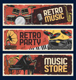 music store banners retro music instruments vector image vector image
