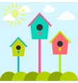 Nesting box cartoon set Meadow with colorful bird vector image vector image