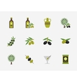 Olive flat icons set vector image