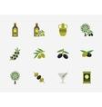 Olive flat icons set vector image