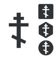 Orthodox cross icon set monochrome vector image vector image