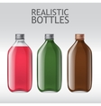 Realistic glass bottles empty transparent set vector image vector image