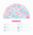 romantic concept in half circle vector image vector image