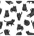 seamless pattern with cartoon black cats vector image vector image