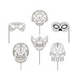 set of black and white props in the form of skulls vector image