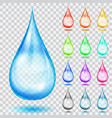 set of transparent multicolored drops vector image vector image