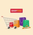 shopping cart shopping bag background image vector image