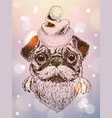 sketch of cute pug puppy with santa hat vector image